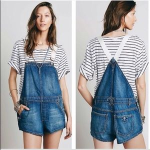 Free People Shapeless Denim Shortalls size 25